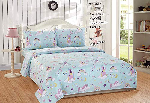 Kids Zone 4 Piece Full Size Sheet Set Unicorn Rainbow Stars Moon Castles Clouds Blue Yellow White Purple New