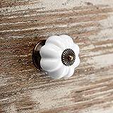 5 x Pomo de Mueble ANNA Ø 39 mm Blanco Base Pavonado Pomo de Cajón Pomo de Porcelana de SO-TECH®