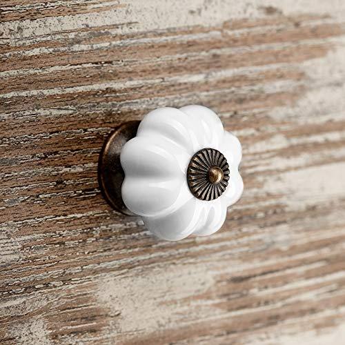 15 x Pomo de Mueble ANNA Ø 39 mm Blanco Base Pavonado Pomo de Cajón Pomo de Porcelana de SO-TECH®