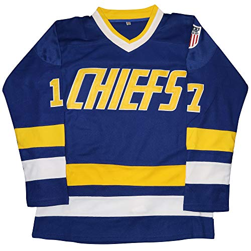 Eway Hanson Brothers Jersey,Charlestown Chiefs 16,17,18 Slap Shot Ice Hockey Movie Jersey (Blue 17, XXXL)