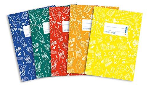 HERMA 20215 Heftumschläge DIN A5 SCHOOLYDOO, Hefthüllen mit Beschriftungsetikett, aus strapazierfähiger und abwischbarer Polypropylen-Folie, 5er Set Heftschoner für Schulhefte, bunt