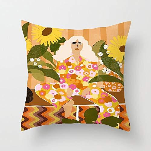 PPMP Pintura al óleo Mujer Flor Funda de Almohada Matisse patrón Inspirado en casa sofá Silla Funda de cojín Decorativa Funda de Almohada A3 45x45cm 2pc