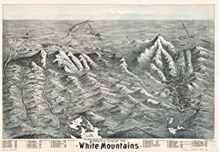 1890 Map Birds eye view of the White Mountains - Size: 18x24 - Ready to Frame - New Hampshire | Whit
