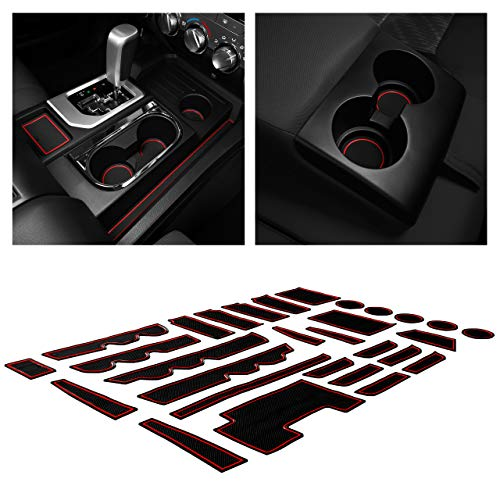 2007-2010 Center Console Liner Mats Blue Trim CupHolderHero fits Jeep Wrangler JK Accessories 2007-2010 Premium Interior Non-Slip Anti Dust Cup Holder Inserts Door Pocket Liners 11-pc Set