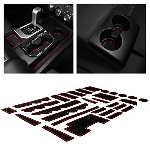CupHolderHero for Toyota Tundra Accessories 2014-2021 Premium Custom Interior Non-Slip Anti Dust Cup Holder Inserts, Center Console Liner Mats, Door Pocket Liners 29-pc Set (Bucket Seat) (Red Trim)