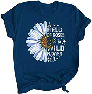 Xinantime Womens Casual Field of Roses Wild Sunflower Printed Round Neck Short Sleeve Loose T-Shirt