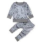 Carolilly 2 PCS Set Completo Sportivo Bambina Neonata in Velluto Felpa Senza Cappuccio + Pantaloni (6Mesi-5Anni)