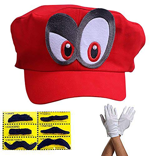 Super Mario gorra Odyssey - Conjunto de 1x guantes y 6x barba pegajosa Costume para adultos y niños - Perfecto para el Carnaval y el Cosplay - ojos a la DERECHA