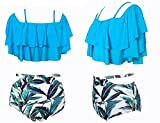 Traje de baño dividido pequeño pecho se reunieron sexy bikini femenino traje de baño de tamaño de primavera traje de baño de aguas termales de baño ropa de playa , xxl (bore 101-106c) , leaves blue