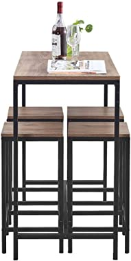Contemporary 5 PCS Kitchen Dining Room Table and 4 Chair Set Space-Saving, Walnut Wood Tabletop with Black Metal Frame, Break