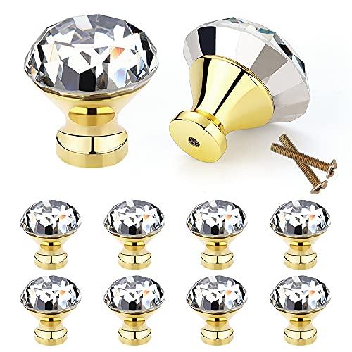 10 Stück Kristall Schubladenknöpfe 30mm Kommode Möbelknöpfe Zinklegierung Kristallglas Moebelknauf mit Schrauben für Schranktüren Schubladen (Golden)