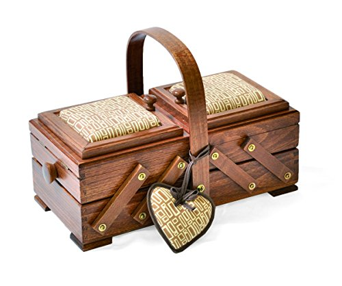 Aumuller Korbwaren GmbH en Co. KG, uk home, AUMUL Sewingbox Beukenhout bruine kleur, incl. pin kussen hart bruin kruis check,
