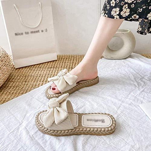 ZSW Moda Primavera Otoño Interior Mujer Zapatillas Mariposa Nudo Corduroy Hogar Antideslizante Zapatos Planos para Mujer Sala de Estar Zapatillas de Mujer (Color: Verde Tamaño: 40)- 38_Beige