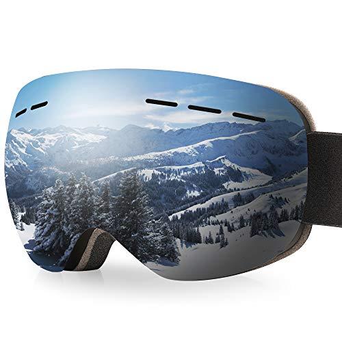arteesol Maschera da Sci, Occhiali da Sci OTG 100% Anti Nebbia & Anti-UV Maschera Sci Adatto a Sci Snowboard Motocross e Altri Sport Invernali
