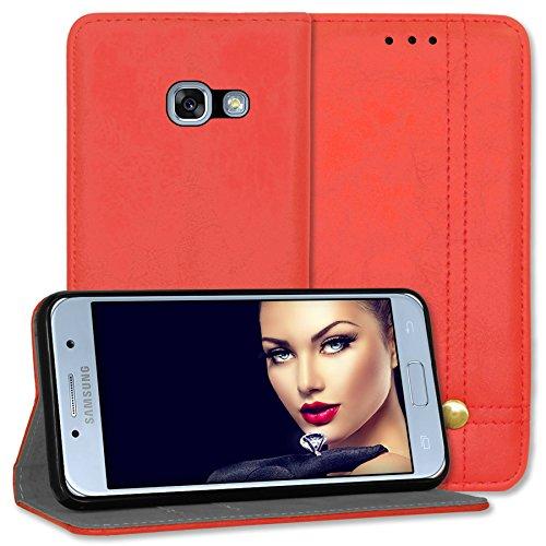 mtb More Energy® Funda Prestige para Samsung Galaxy A3 2017 (SM-A320, 4.7'') - Rojo - Cuero sintético - Bookstyle Wallet Cover Case Estuche