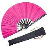 OMyTea - Abanico de mano plegable grande de tipo Kung Fu-Tai Chi, unisex, con funda de tela para su protección, ideal para actuaciones, bailes, competiciones o regalos