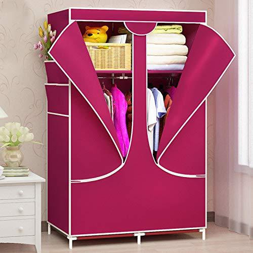 Unbekannt AC038 Kleiderschrank aus Vliesstoff, zum Zusammenbauen von Schlafzimmern und Kleidung, platzsparend, platzsparend, staubdicht rot