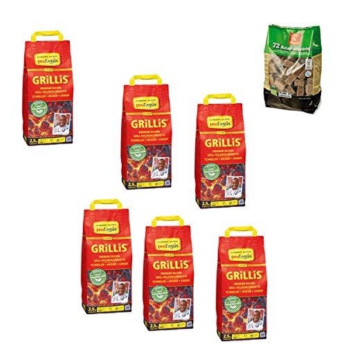 Profagus Grillis 2,5 kg - Holzkohlebriketts (6er Set + 1x Grillanzünder!)