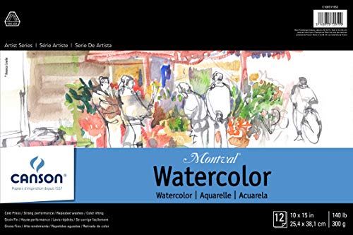 CANSON Artist Series Montval Watercolor Pad, Cold Press Acid Free French Paper, Fold Over, 140 Pound, 10 x 15 Inch, 12 Sheets, 10'X15'