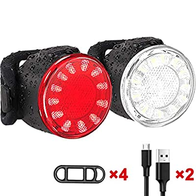 USB Rechargeable LED Bike Lights Set, Super Bright Front and Back Rear Bicycle Light Combo, IPX5 Water Resistant Mountain Road Helmet Cycle Headlight and Taillight Set for Cycling, Hiking, Camping