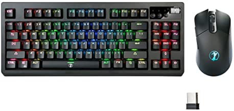 ZJFKSDYX MK87 2.4G Wireless Mechanical RGB Keyboard and Mouse Combo,<1ms Response Time, Wired and Wireless Modes, Support Charging, Suitable for Office and Games (Blue Switch, Black)