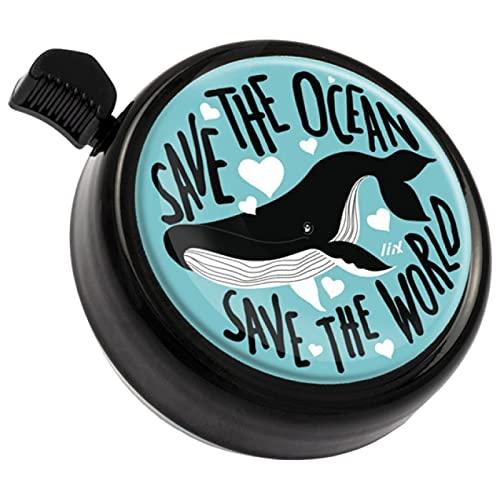 Liix Big Colour Bell neu 2021 Wal Design mit Spruch Save The Ocean extra große ud stylische Fahrradklingel mit lackiertem und wetterbeständigem Metall Deckel lauter Klang
