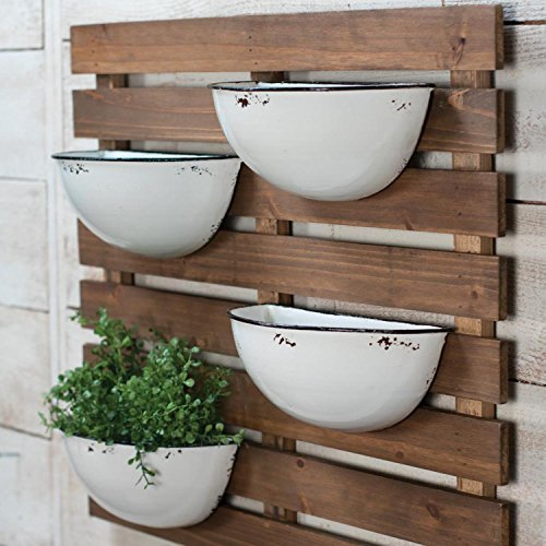 Foreside Rustic Slat Wood Wall Planter with Four Distressed White Enamel Pots, 74