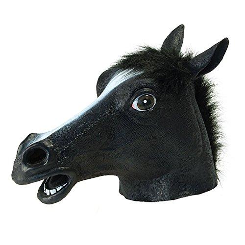 Chakil Halloween Pferde-Kopfbedeckung Tier Kopfbedeckung Ganzgesichtsmaske Cosplay Kostüm Spiel Party Halloween L B