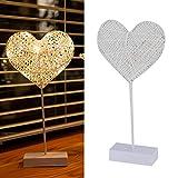 Lámpara de Mesa Lámpara de ratán con batería LED Lámpara de Forma de corazón de Amor Decoración Lámpara...