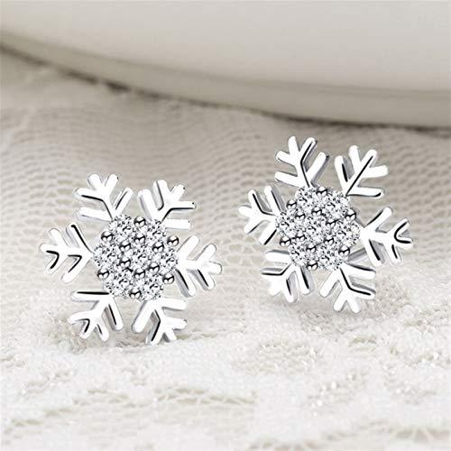 Sweet Micro Silver Color Snowflake Ladies Sterling Silver Pendientes de la bola de compromiso Joyería (Metal Color : Silver)