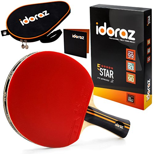 Idoraz Table Tennis Paddle Professional Racket  Ping Pong Racket with Carrying Case – ITTF Approved Rubber for Tournament Play