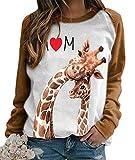 HAHAEMMA Sudadera para mujer con diseño de gato, jirafa, pollo, conejo, animales, manga larga, cuello redondo, camiseta de manga larga jirafa-b M