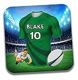 Dessous de verre personnalisable sur le thème du maillot de rugby - Cadeau d'anniversaire - Couleurs PAU