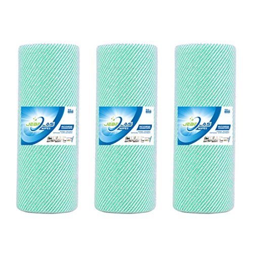 JEBBLAS Disposable Cleaning Towels Dish Towels and Dish Cloths Reusable Towels,Thick Handy Cleaning Wipes Quick-Dry 50 Count/Roll, Total 3 Rolls, Green