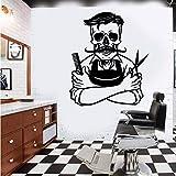 Tianpengyuanshuai Gran Esqueleto barbería Pared calcomanía Calavera Pelo calcomanía barbería Vinilo decoración del hogar 80x95cm