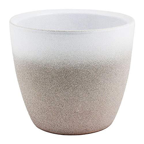 Ivyline Turno Two Tone Stone & White Indoor Home Planter Flower Plant Pot 15cm