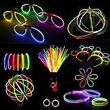 Doubleme Set de 100 Barras Luminosas para Fiestas - 20 cm, 10 Colores - LED Guirlanda,...