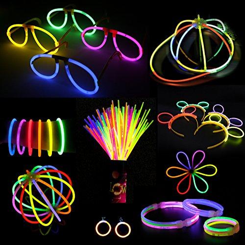 Doubleme 100 Bâtons Lumineux Fête,10 Couleurs,Kits pour Créer Bonnets,Colliers,Lunettes,Boucles D'oreilles,Bracelets,Bandeaux,Fleurs,Boules Lumineuses