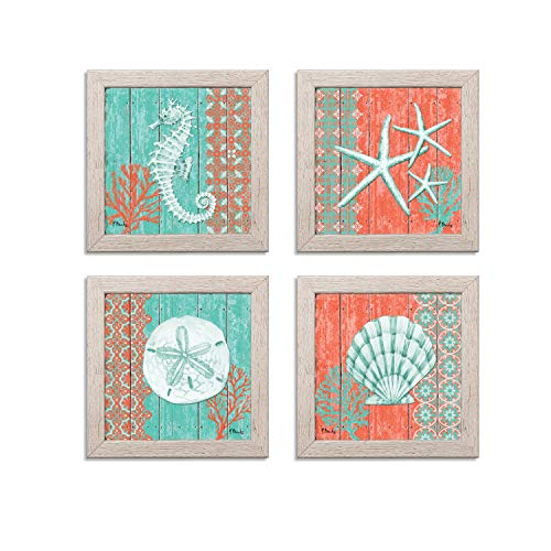 4 Lovely Teal and Coral Ocean Seashell Sand Dollar Seahorse Star Fish Collage; Nautical Decor; Four 12x12 Inch Distressed Framed Prints; Ready to hang!