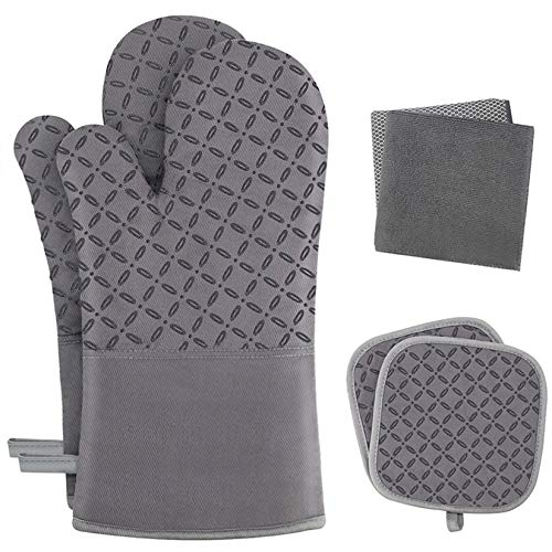 KEGOUU Oven Mitts and Pot Holders 6pcs Set, Kitchen Oven Glove High Heat Resistant 500 Degree Extra Long Oven Mitts and Potholder with Non-Slip Silicone Surface for Cooking (Gray)