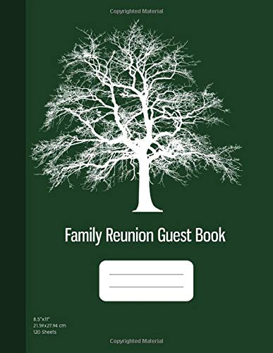 Family Reunion Guest Book: Message Book, Family Reunion Memory Book, Keepsakes and Srapbook for Reunions, 120 Sheets, Dark Green Cover (8.5