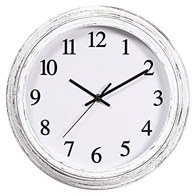 Kingrol 12-Inch Vintage Wall Clock, Silent Non Ticking Quality Quartz Clock, Easy to Read Decorative Clock for Home Office School - Silent Non-ticking, sweeping movement mechanism and precise movements to guarantee accurate time and ultra-quiet environment. Sturdy plastic frame and glass lens make it easy to clean and keeps dust away from dial. Large and clear black numerals against white face make for easy viewing, features a second hand for added precision. - wall-clocks, living-room-decor, living-room - 51hGrG5EtsL. SS400  -