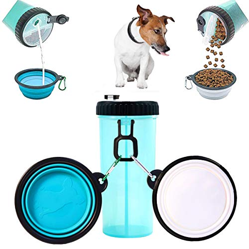 Dog Water Bottle for Walking outdoor and Food Container 2 in 1 with 2 Collapsible Dog Bowls,MSDADA Portable Water Dispenser for Dogs Cats and Other Pets (XL Size,Blue)