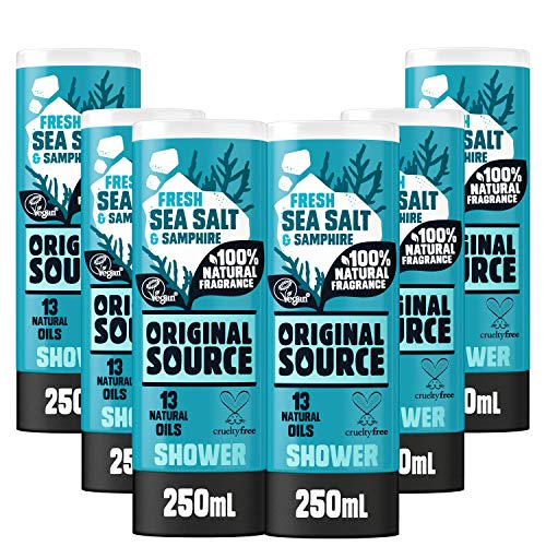 Original Source Sea Salt and Samphire Shower Gel with 100% Natural Fragrance, Vegan Shower Gel, Paraben Free Body Shower Wash, Multipack of 6 x 250 ml