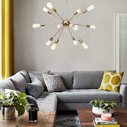 Gold Sputnik Candelabros Lámpara de araña Moderna Lámpara de araña de Mediados de Siglo Lámparas de Techo Modernas Iluminación Colgante para Sala de Estar Comedor Dormitorio Pasillo Cocina Isla
