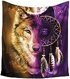 Haokaini Tapisserie mandala attrape-rêves plumes loup bohémien tapisserie murale à suspendre dans le ciel de nuit pour chambre à coucher, salon, dortoir, serviette de plage
