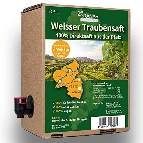 Trauben Direktsaft weiß aus der Pfalz, 100% roter Traubensaft, vegan und ohne Zusätze - 2 x 5 Liter Box