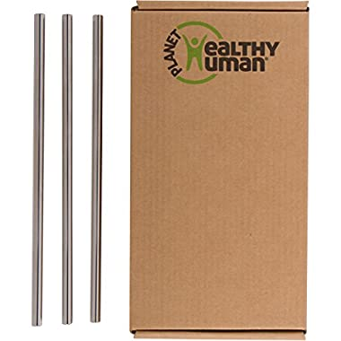 Healthy Human Reusable Stainless Steel Straws | Complete Portable Stainless Steel Straw Kit | 3 Straws - Great for Smoothies & Water