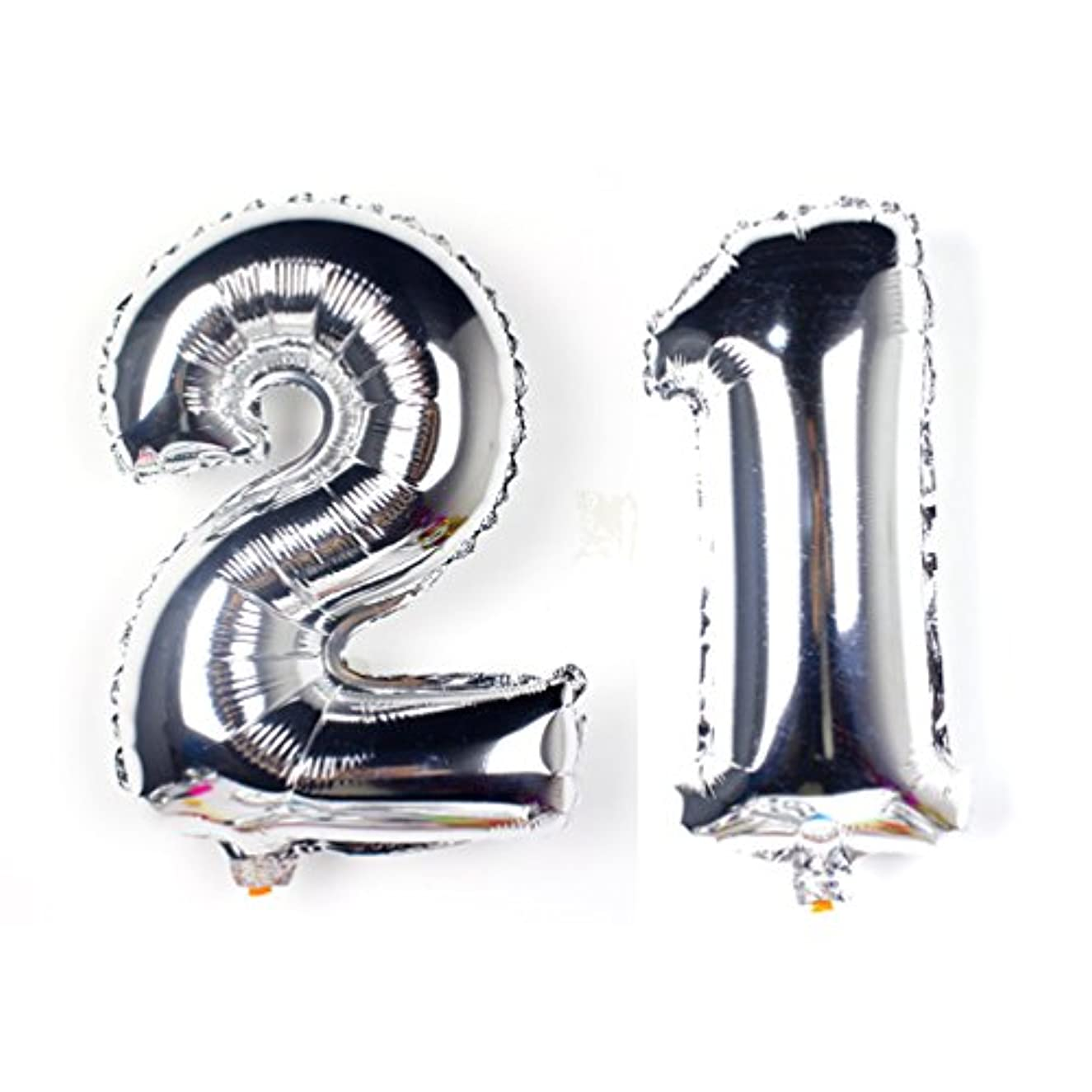 KEYYOOMY 40 in Number 21 Balloon Kit Silver Gaint Jumbo Foil Mylar Balloons for 21 Birthday Party Adult Ceremony Anniversary Celebrate Parties Decorations (a Number 1 Balloon and 1 Number 2 Balloon)