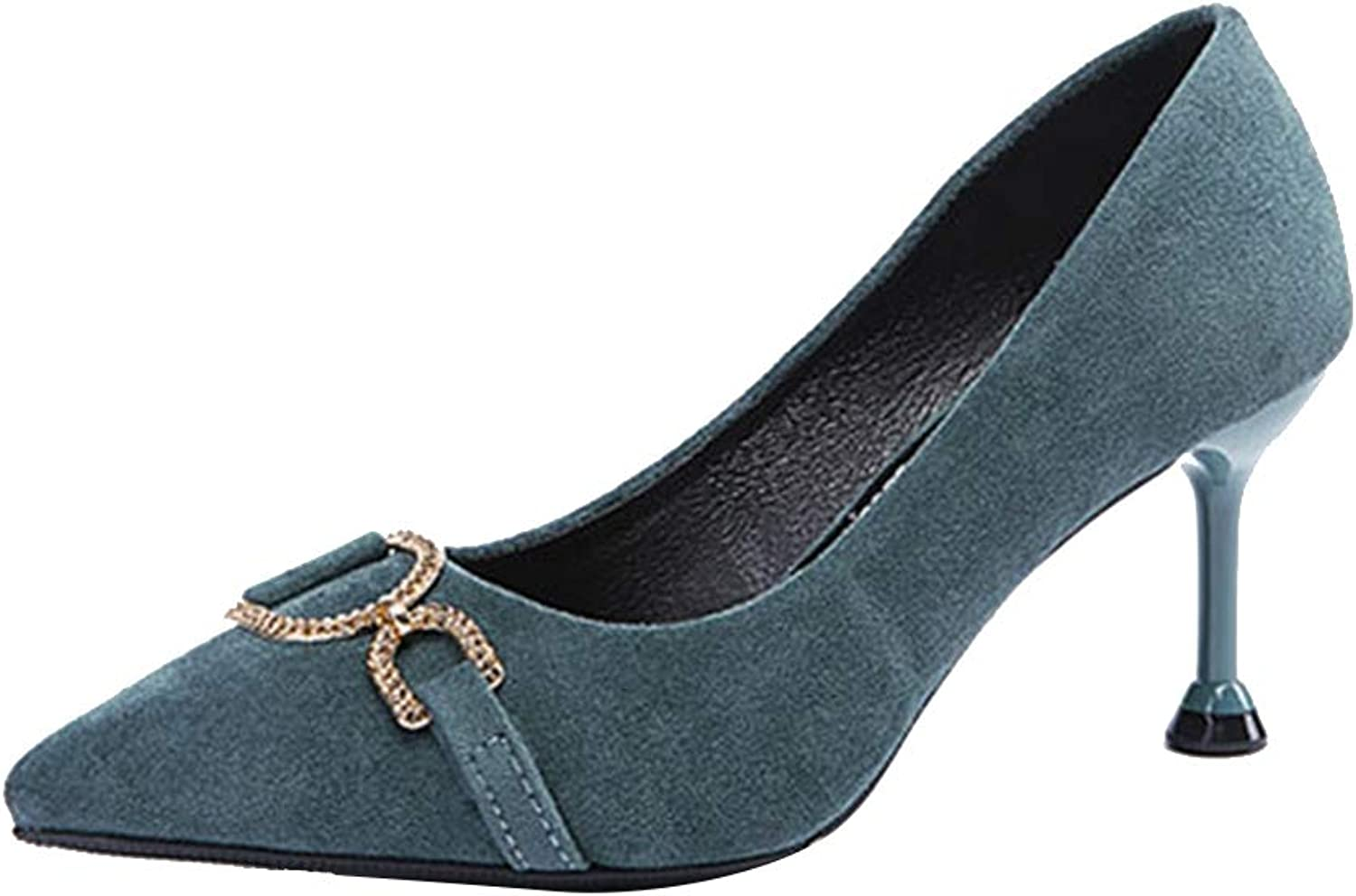 Sam Carle Women's Pumps,Elegant Suede Slip-on bluee Black Business Formal High Heels